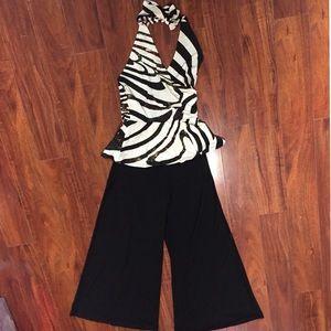 Arancia Jumpsuit  Size L Black Pants Peplum Top